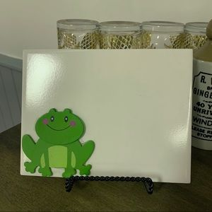 Handmade frog white board and stand